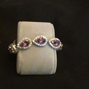 Women's Beautiful Amethysts & Diamonique Bracelet
